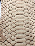 Vinyl Fabric - CAMEL Faux Viper Snake Skin Leather Upholstery - 3D Scales - By The Yard