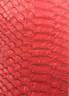 Vinyl Fabric - RED Faux Viper Snake Skin Leather Upholstery - 3D Scales - By The Yard