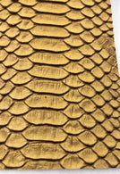 Vinyl Fabric - GOLD Faux Viper Snake Skin Leather Upholstery - 3D Scales - By The Yard