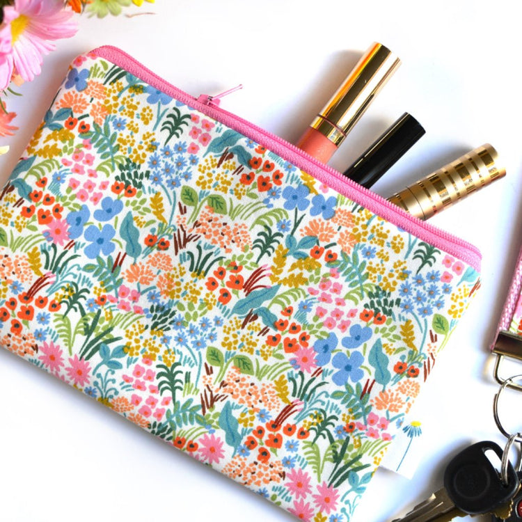 Pink Tapestry Zipper Pouch