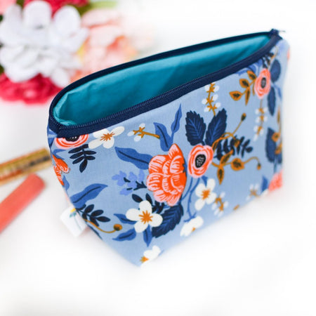 Large Zipper Pouch in Birch Floral