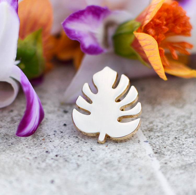 Gold Monstera Pin