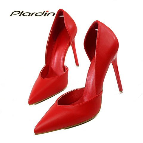 Womens Sweet Party Wedding  Shallow Mouth Cut Out Thin High Heel Pumps