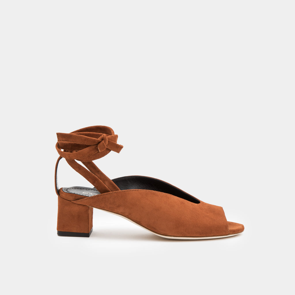Cognac suede peep toe mule with an ankle tie wrap block heel