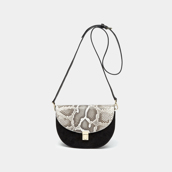Black Suede with Black and White Python Half moon cross-body bag