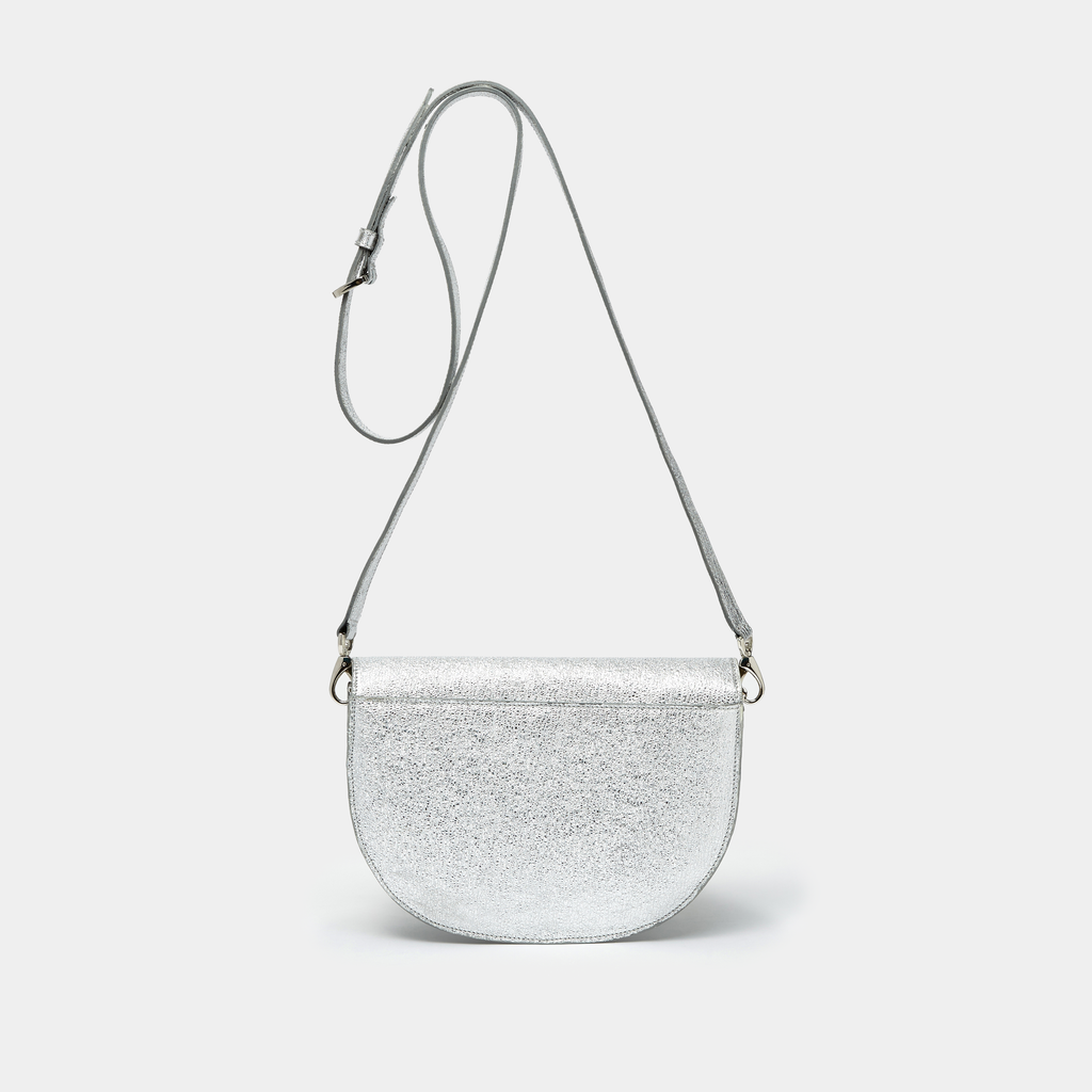 Crinkled Silver Leather Half moon shaped cross-body bag