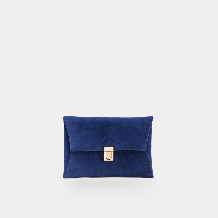 Midnight blue suede Clutch