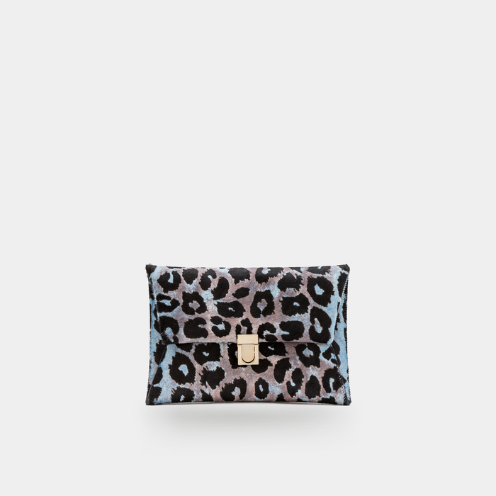 Blue haircalf Leather Clutch
