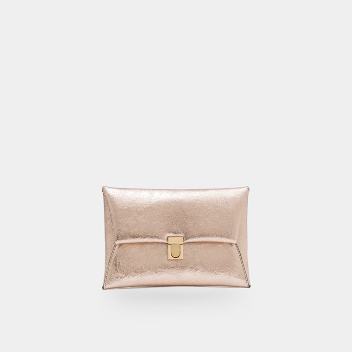 Rose Gold crinkled metallic leather Clutch