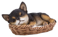 Puppy in Wicker Basket Pet Pals Collectible Dog Figurine 6.5 Inches L