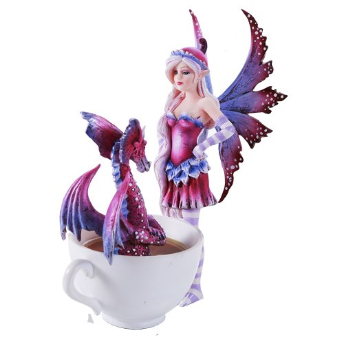 Amy Brown Get Out of My Tub Cup Fairy Dragon Fantasy Art Figurine Collectible 6.25 inch