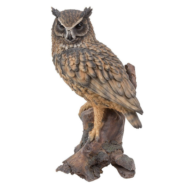 Realistic Looking Eagle Owl Perched On Stump Statue Gallery Quality Detailed Sculpture Amazing Likeness Life Size Scale Resin Sculpture Hand Painted Statue Indoor Outdoor Decor