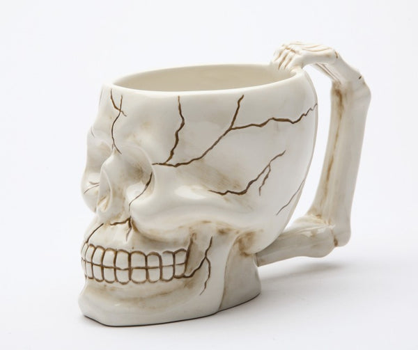 Ceramic Skull Mug with Handle 4 Inch Tall 13oz