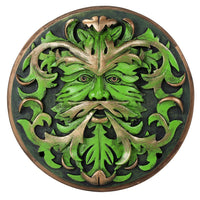 Decorative Green Man Round Wall Plaque Designed by Oberon Zell 5.75 Inches Diameter