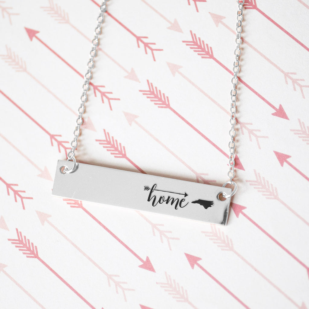 Home is North Carolina Gold / Silver Bar Necklace - pipercleo.com