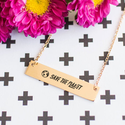Save the Planet Gold / Silver Bar Necklace