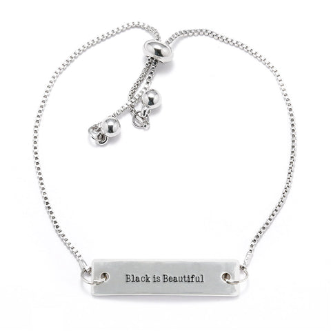 Black is Beautiful Silver Bar Adjustable Bracelet