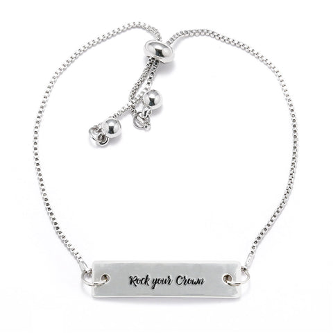 Rock your Crown Silver Bar Adjustable Bracelet