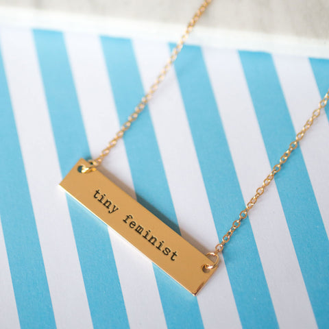 Tiny Feminist Gold / Silver Bar Necklace