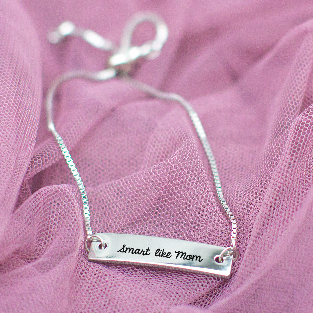 Smart Like Mom Silver Bar Adjustable Bracelet