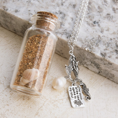 Mermaids and Seashells Necklace In a Jar - pipercleo.com