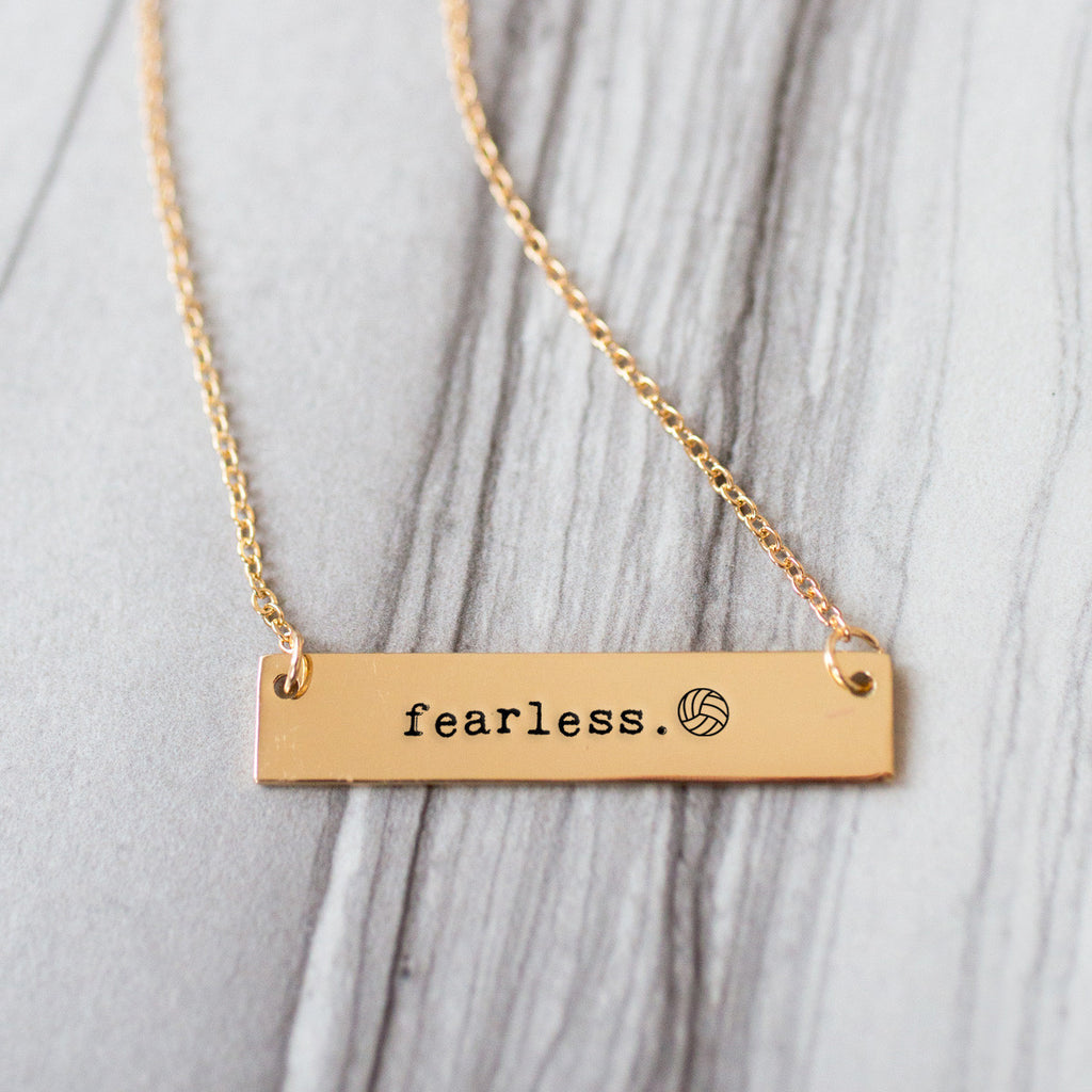 Fearless Volleyball Gold / Silver Bar Necklace - pipercleo.com