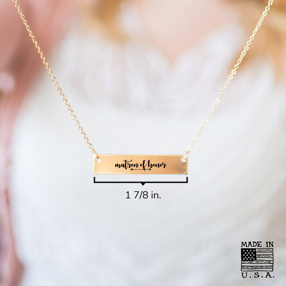 Matron of Honor Gold / Silver Bar Necklace - Bridesmaid Gift - pipercleo.com