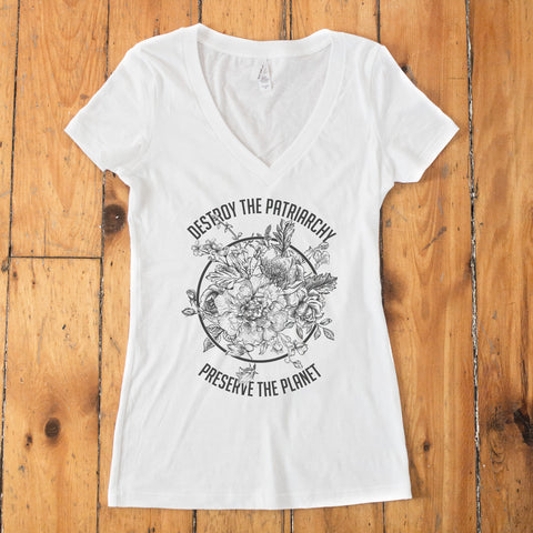 Destroy the Patriarchy Preserve the Planet Women's V-Neck T-shirt - pipercleo.com