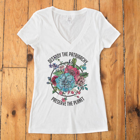 Destroy the Patriarchy Preserve the Planet Color Women's V-Neck - pipercleo.com
