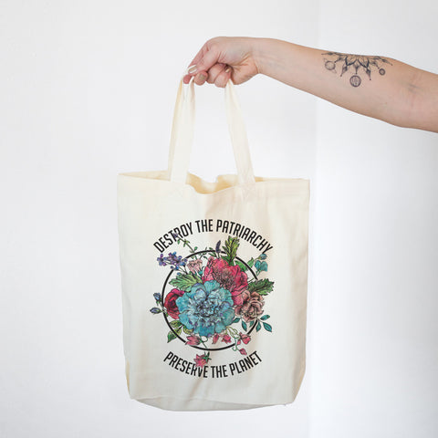 Destroy the Patriarchy Preserve the Planet Cotton Tote Bag