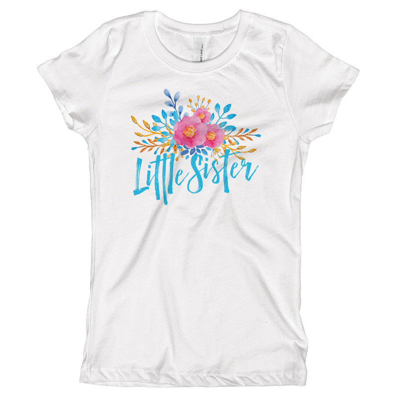 Little Sister Watercolor Flowers Youth Size T-Shirt - pipercleo.com