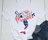 Gifts For Her | Star Spangled Mermaid T-Shirt | Mermaid Tail-T-shirt-TD Gift Solutions.com