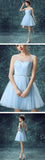 Charming Light Blue Graduation Dress,Illusion Tulle Cute homecoming prom dresses,SVD554