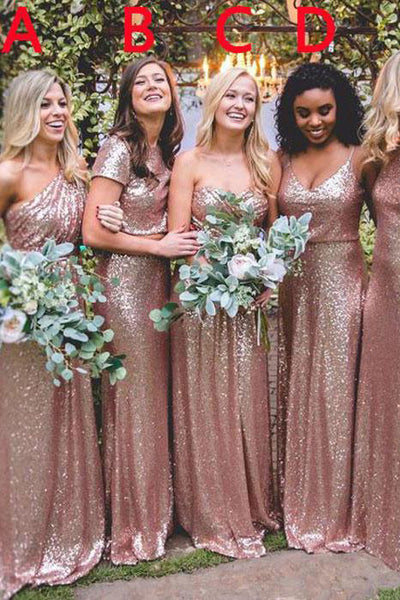 Mismatched Rose Gold Sequin Long Wedding Party Dresses,Bridesmaid Dresses, BD60