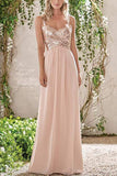 Rose Gold Chiffon A-line Backless Spaghetti Straps Sequins Bridesmaid Dress, BD091