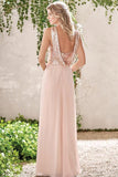 Rose Gold Chiffon A-line Backless Spaghetti Straps Sequins Bridesmaid Dress, BD091 supplied by simidress.com