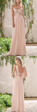 Rose Gold Chiffon A-line Backless Spaghetti Straps Sequins Bridesmaid Dress, BD091|www.simidress.com