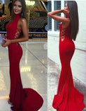 Fabulous Red Mermaid High Neck Long Prom Dresses Evening Dress, M121