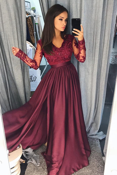 Burgundy Satin Long Sleeves A-line Long Prom Dresses Evening Dresses, M157