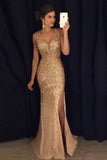 Gold Shinning Mermaid Column Straps Long Slit Prom Dress Evening Dress, M330
