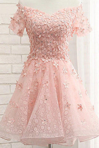 Sweet Off The Shoulder Short Prom Dress,Tulle  Appliques Floral Homecoming Dress Party Dress