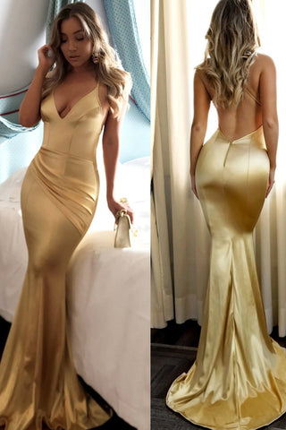 Fabulous Gold Mermaid Spaghetti Straps Long Prom Dresses With Short Train, SP374