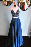 Two Piece Chiffon Rhinestone Spaghetti Straps Long Prom Dresses on Line, SP375|simidress.com