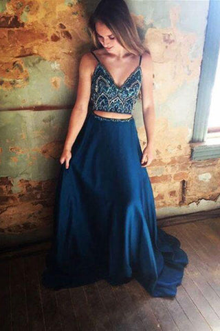 Two Piece Chiffon Rhinestone Spaghetti Straps Long Prom Dresses on Line, SP375