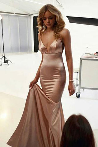 Simple Modest Spaghetti Straps Mermaid Long Prom Dresses, Evening dress, SP382