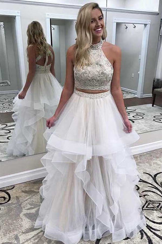 White High Neck Two Piece A Line Tulle Prom Dress Evening Dresses, SP415
