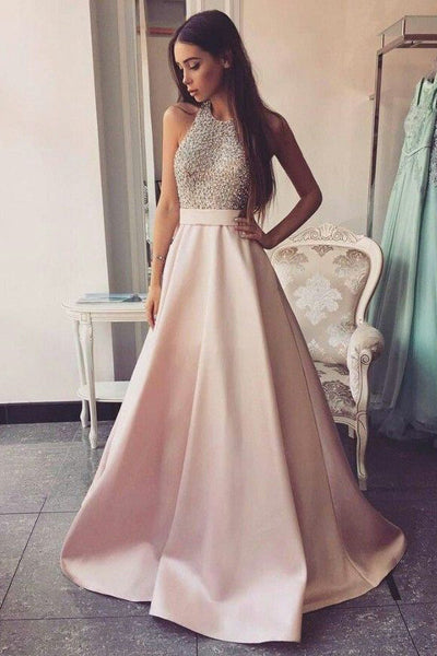 Elegant Beaded Pink Satin Ball Gown Round Neck Open Back Long Prom Dresses, SP488