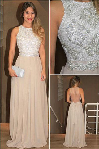 Long High Neck Sequins Chiffon Prom dresses Evening Prom Gowns With Beading,SVD314