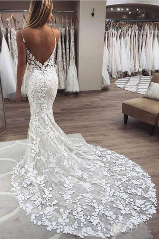 Vintage Mermaid Spaghetti Straps Lace Boho Wedding Dress With Appliques, SW245