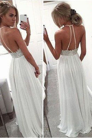 White Prom Dresses with Appliques,Long Prom Gowns,A-line Prom Dresses,SIM449